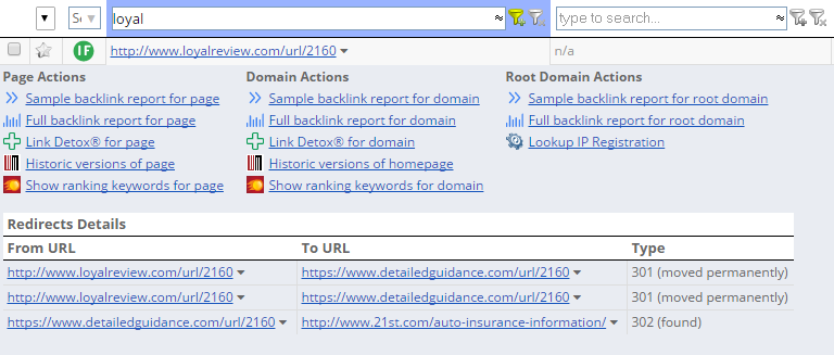 redirect detailed table view